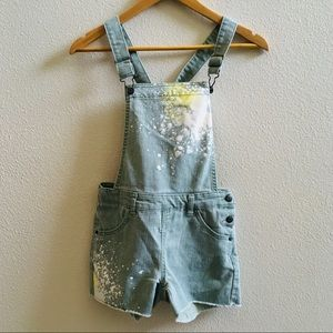 CAT & Jack girls overalls shortalls denim L splat